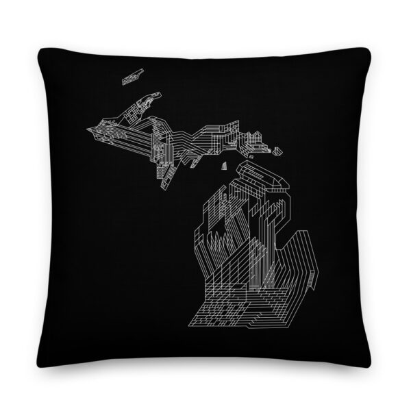 22 inch square black pillow with a white line drawing of the state of michigan