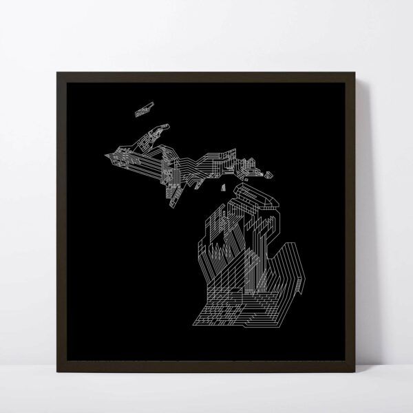 square fine art print with a white line drawing of the state of michigan on a black background in a black frame