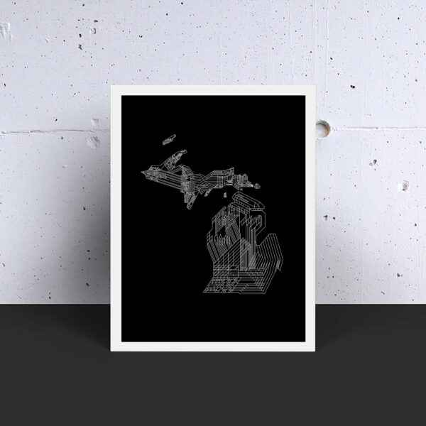 vertical fine art print with a white line drawing of the state of michigan on a black background in a white frame