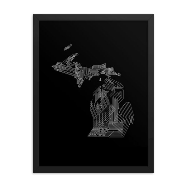 18 inch by 24 inch vertical fine art print with a white line drawing of the state of michigan on a black background in a black frame