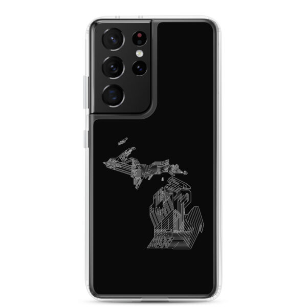 samsung galaxy s21 ultra phone case with a white line drawing of the state of michigan on a black background