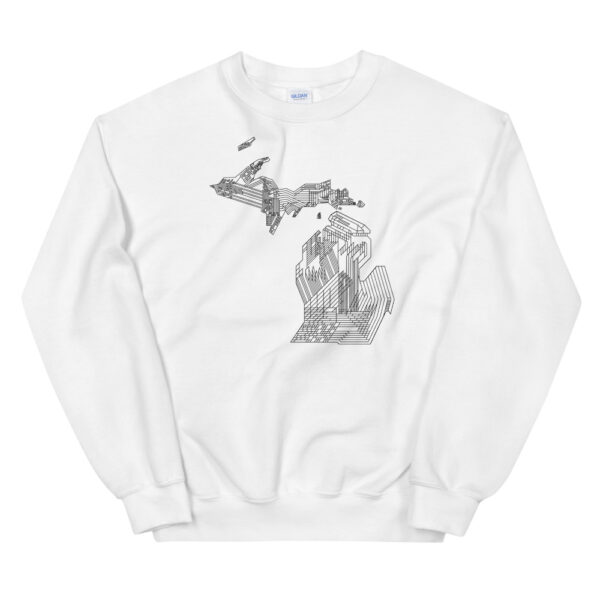 white long sleeve sweatshirt with a black line drawing of the state of michigan design