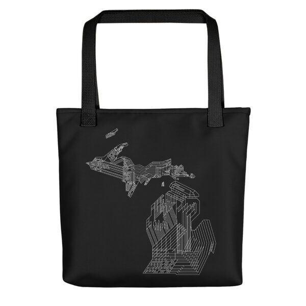 black tote bag with black handles and white line drawing of the state of michigan
