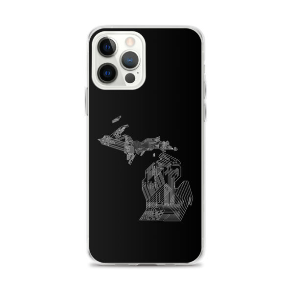 iphone 12 pro max case with a white line drawing of the state of michigan on a black background