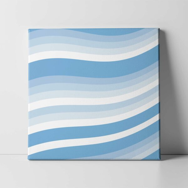square stretched canvas art print of wavy blue and white lines in a cirrus cloud design