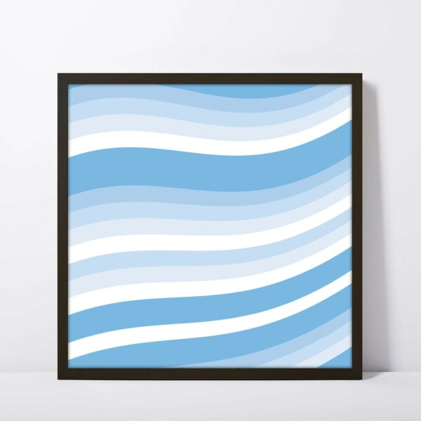 square fine art print with a blue and white wavy line design in a black frame