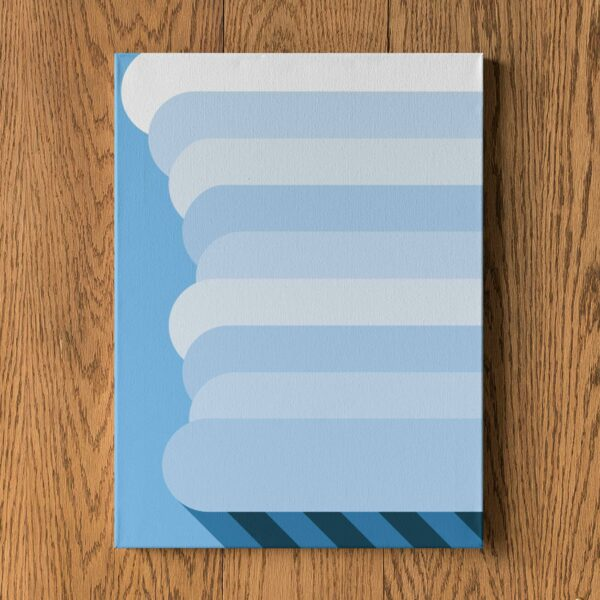 vertical stretched canvas art print of a tall white rain cloud on a blue background hanging on a wall
