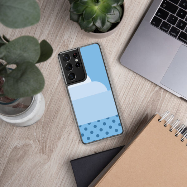 samsung phone case with a minimalist white stratus rain cloud with raindrops on a blue background sitting next to a laptop