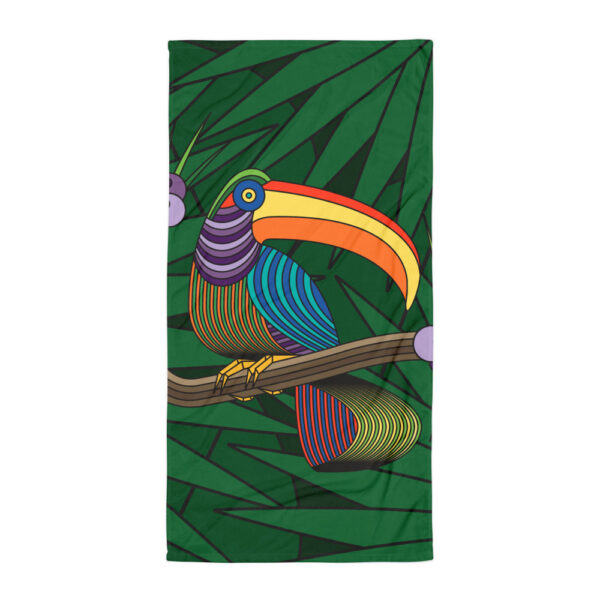 beach towel with a colorful toucan design
