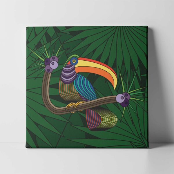 square stretched canvas art print with a colorful toucan in a rainforest design