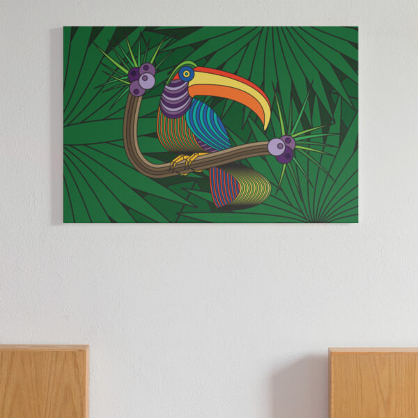 horizontal stretched canvas art print with a colorful toucan in a rainforest design hanging on a wall