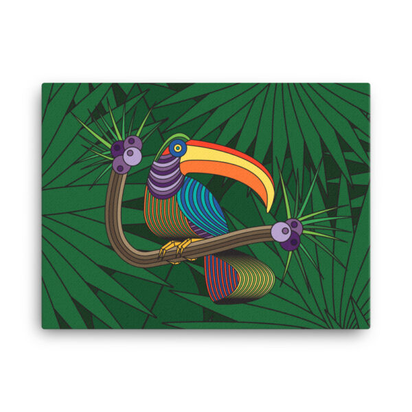 24 inch by 18 inch horizontal stretched canvas art print with a colorful toucan in a rainforest design