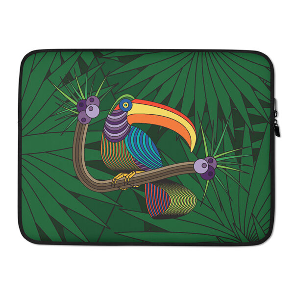 15 inch laptop sleeve with a colorful toucan design in front of a green leaf background