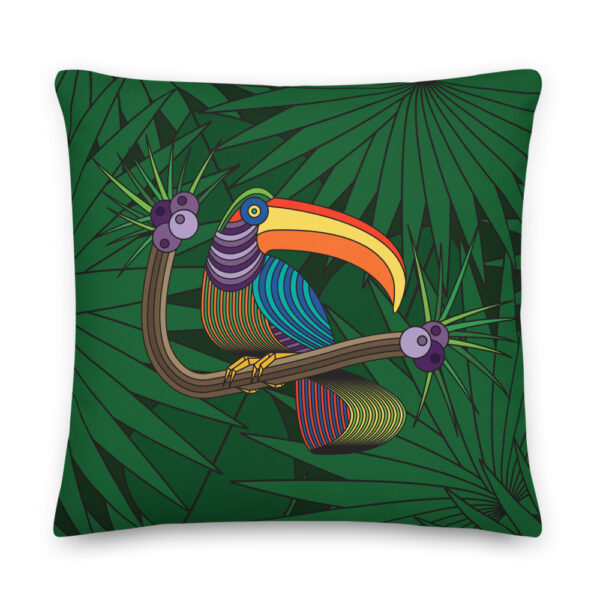 22 inch square pillow with a colorful toucan design with a green leaf background