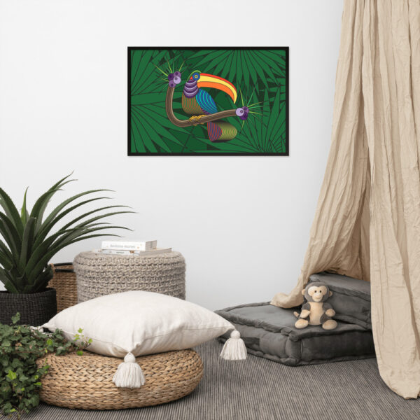 horizontal fine art print of a colorful toucan with a green leaf background in a black frame hanging on a wall in a living room