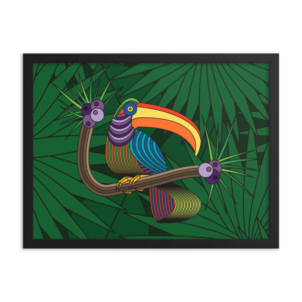 24 inch by 18 inch horizontal fine art print of a colorful toucan with a green leaf background in a black frame