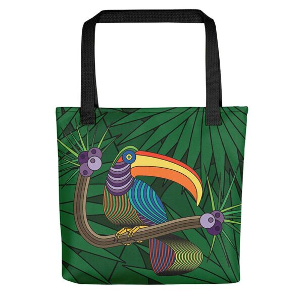 tote bag with black handles and a colorful design of a toucan in a rainforest