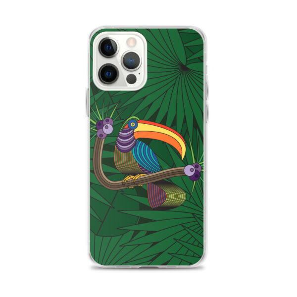 iphone 12 pro max case with a colorful design of a toucan in front of green leaves