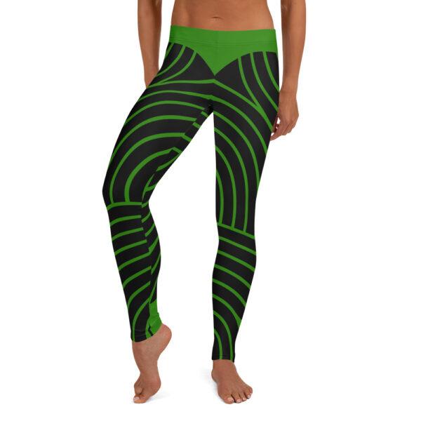 woman wearing black and green striped leggings