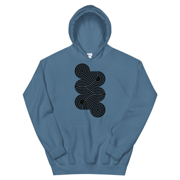 indigo blue hooded sweatshirt with an abstract design of black circles on the chest