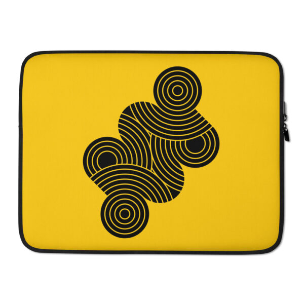 15 inch laptop sleeve with an abstract design of black circles on a yellow background