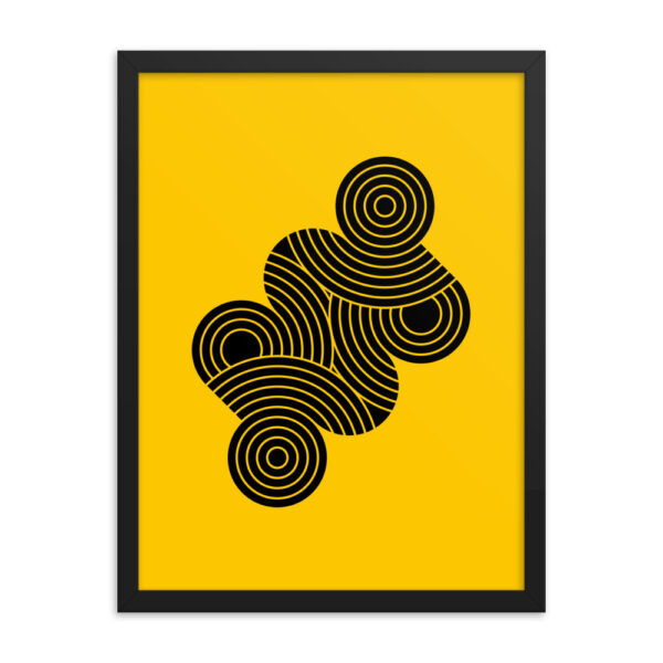 18 inch by 24 inch vertical fine art print with an abstract design of black circle shapes on a yellow background in a black frame