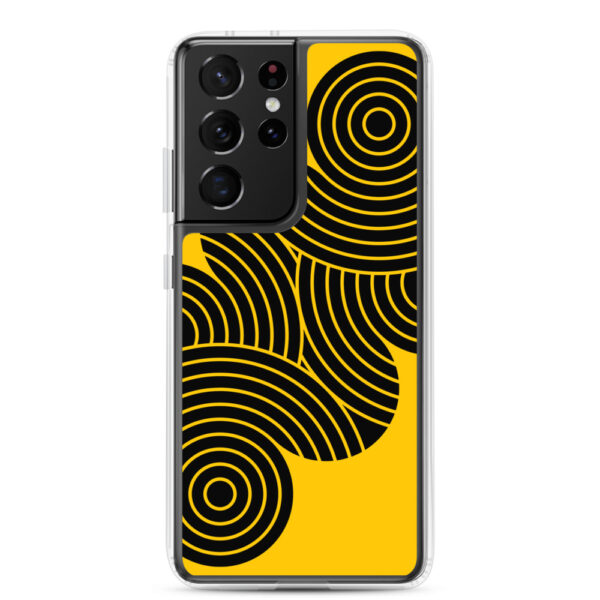 samsung galaxy s21 ultra phone case with an abstract design of black circles on a yellow background