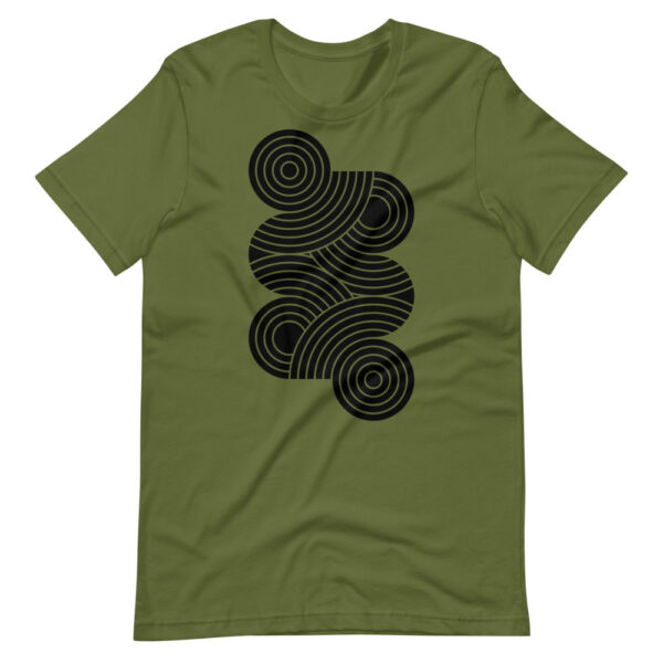 olive green short sleeve t-shirt with an abstract group of black circles design