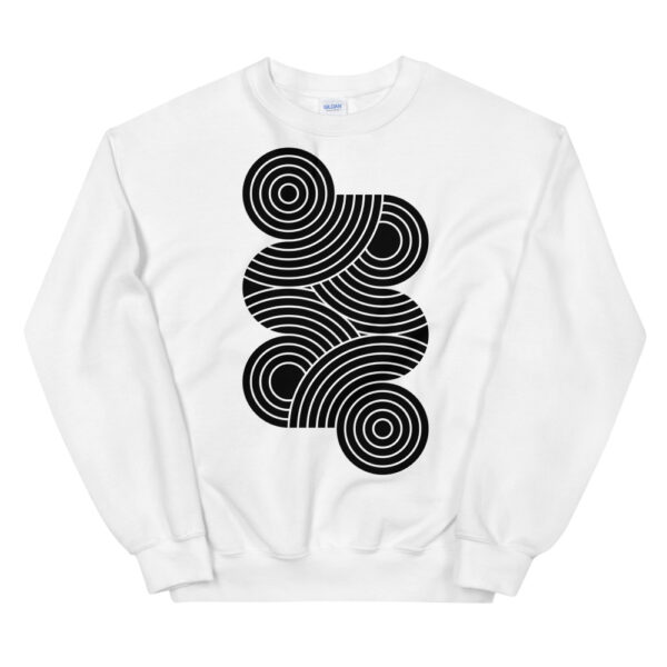 white long sleeve sweatshirt with an abstract group of black circles design