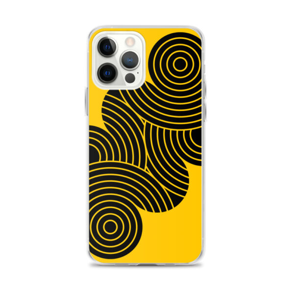iphone 12 pro max case with an abstract design of black circles on a yellow background