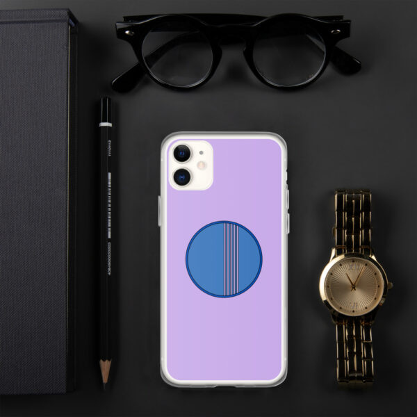 iphone case with a minimalist blue circle design on a purple background sitting next to a watch