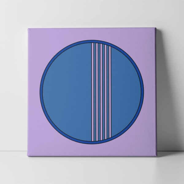 square stretched canvas art print with a blue circle design on a purple background