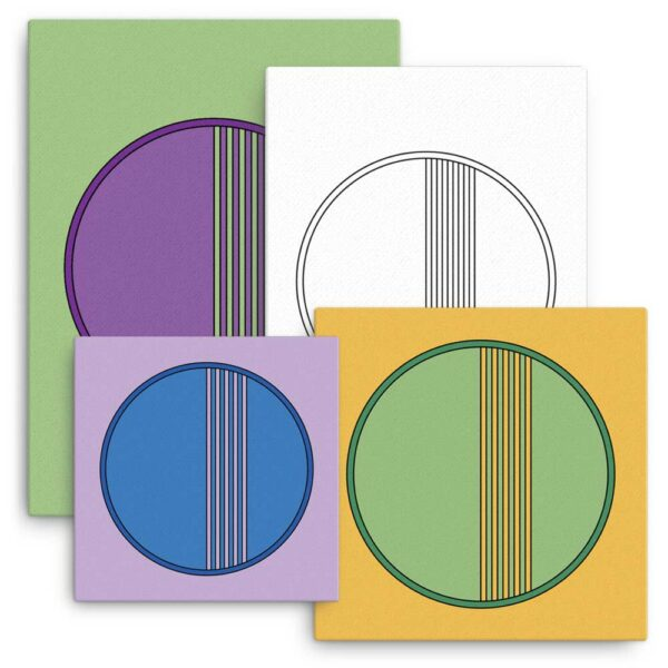 group of four colorful stretched canvas art print with minimalist circle designs