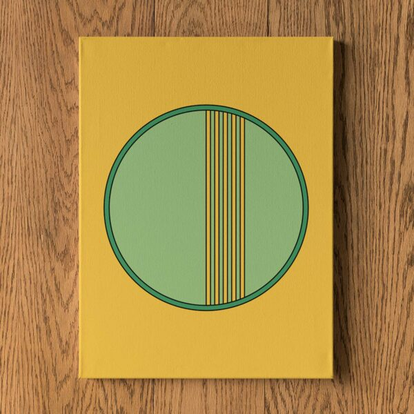 vertical stretched canvas art print with a green circle design on a yellow background hanging on a wall