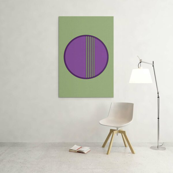 large vertical stretched canvas art print with a purple circle design on a green background hanging on a wall