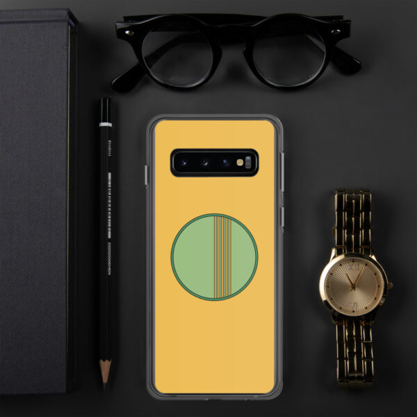 samsung phone case with a minimalist green circle design on a yellow background sitting next to a watch