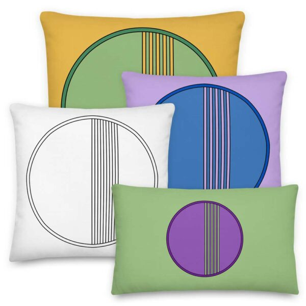 four colorful pillows with minimalist circle designs