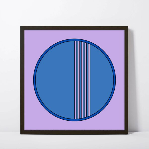 square fine art print of a blue circle on a purple background in a black frame