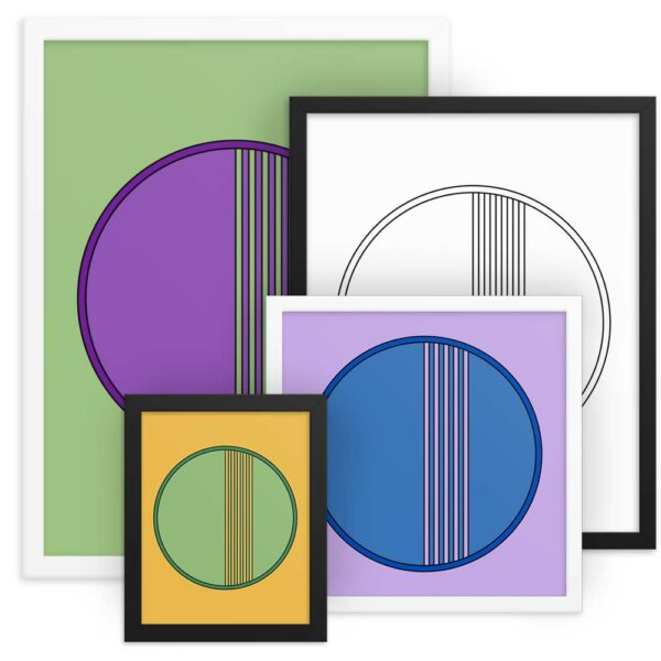 grouping of framed fine art prints of colorful circle designs