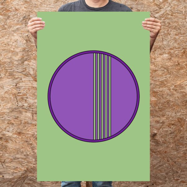 person holding a large vertical fine art print of a purple circle on a green background
