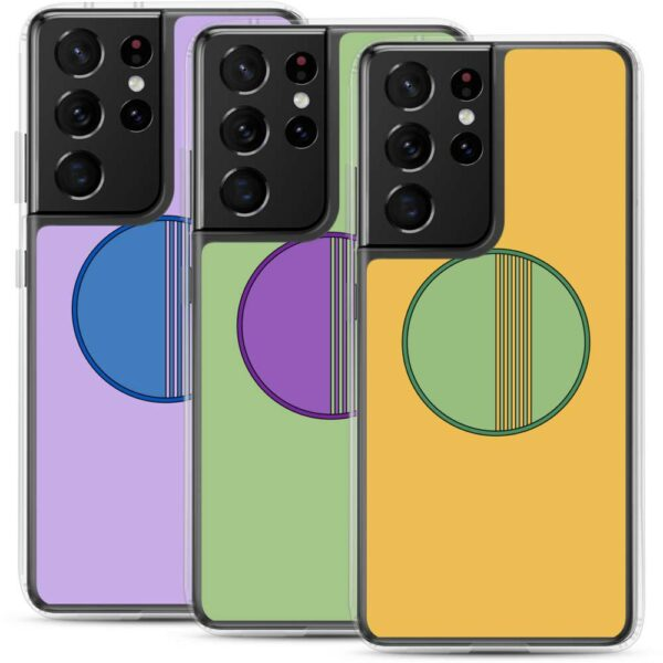 four colorful samsung phone cases with minimalist circle designs