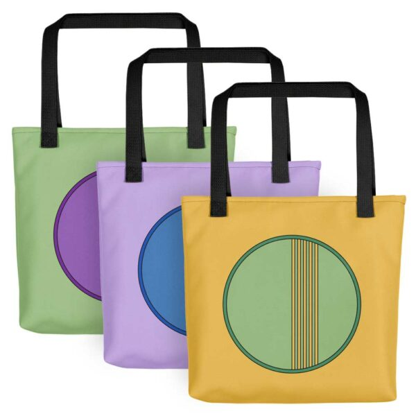 three colorful minimalist tote bags with circle designs