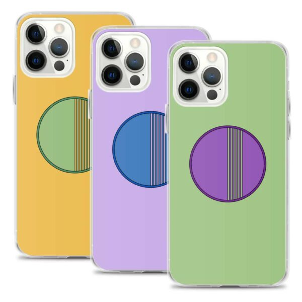 three colorful iphone cases with minimalist circle designs