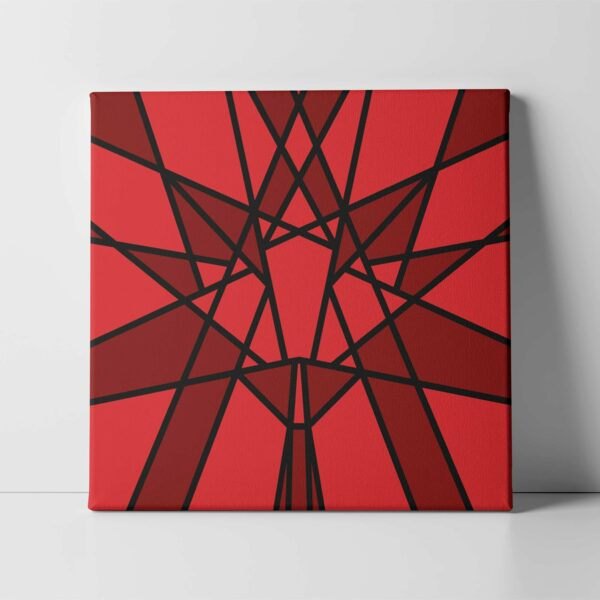 square stretched canvas art print with a red geometric maple leaf design