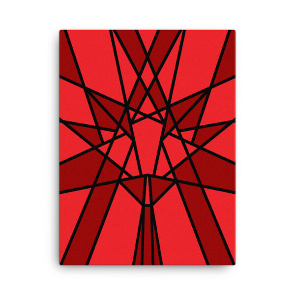 18 inch by 24 inch vertical stretched canvas art print with a red geometric maple leaf design