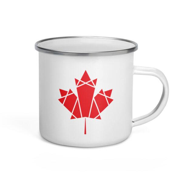 white enamel mug with a red geometric maple leaf design on the side