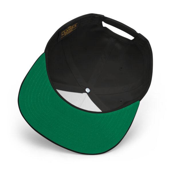 inside of black hat with green under visor
