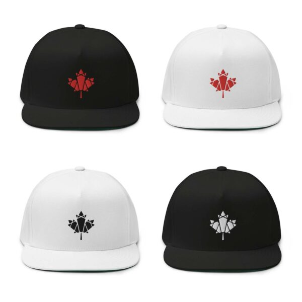 four hats with embroidered maple leaf designs