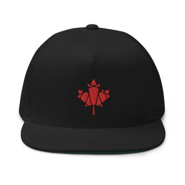 black hat with an embroidered red maple leaf