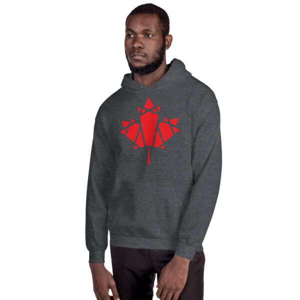 man wearing a dark grey hooded sweatshirt with a geometric red maple leaf design on the chest